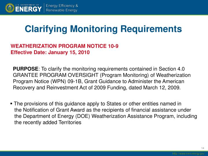 Clarifying Monitoring Requirements