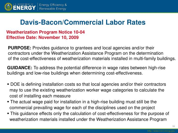 Davis-Bacon/Commercial Labor Rates