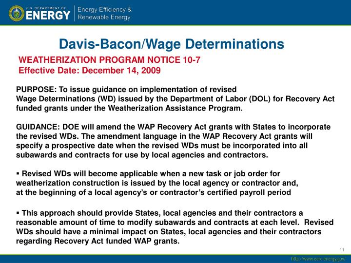 Davis-Bacon/Wage Determinations