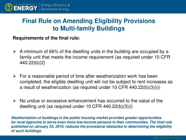 Final Rule on Amending Eligibility Provisions