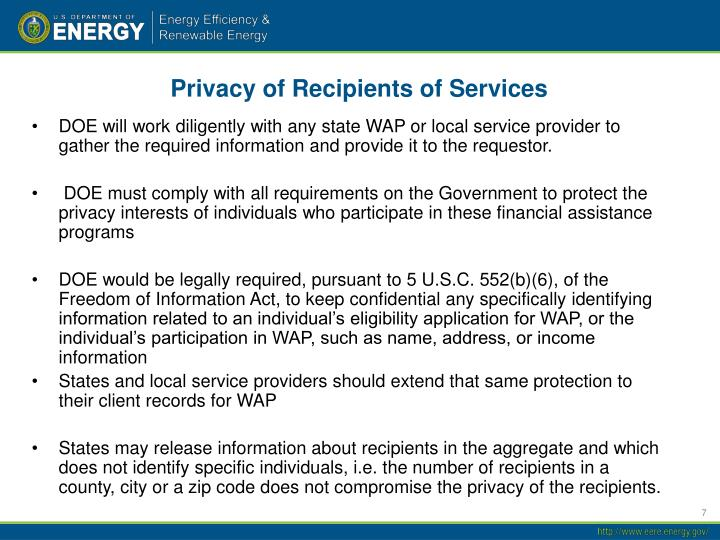 Privacy of Recipients of Services