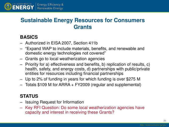 Sustainable Energy Resources for Consumers