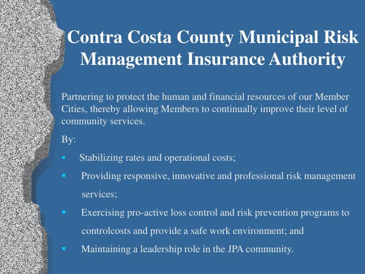 Contra Costa County Municipal Risk Management Insurance Authority
