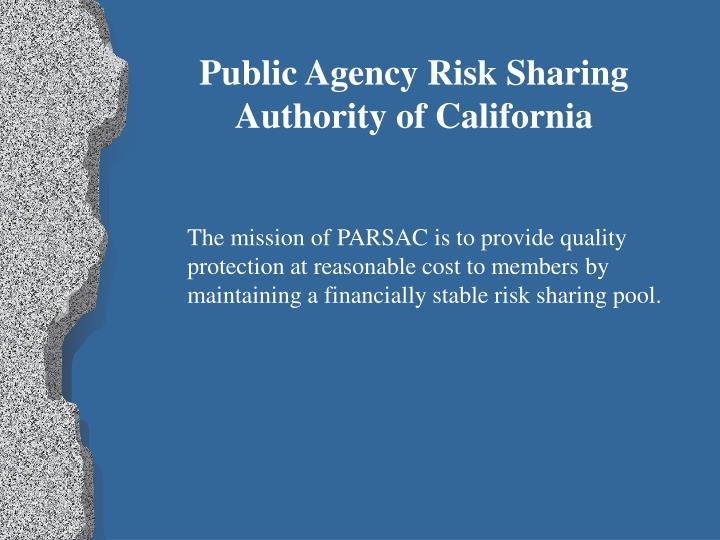 Public Agency Risk Sharing