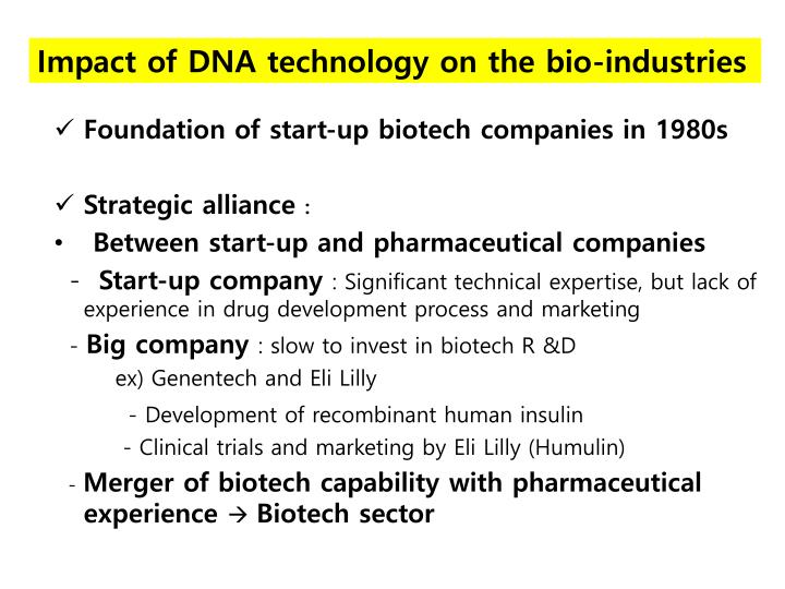 Impact of DNA technology on the bio-industries