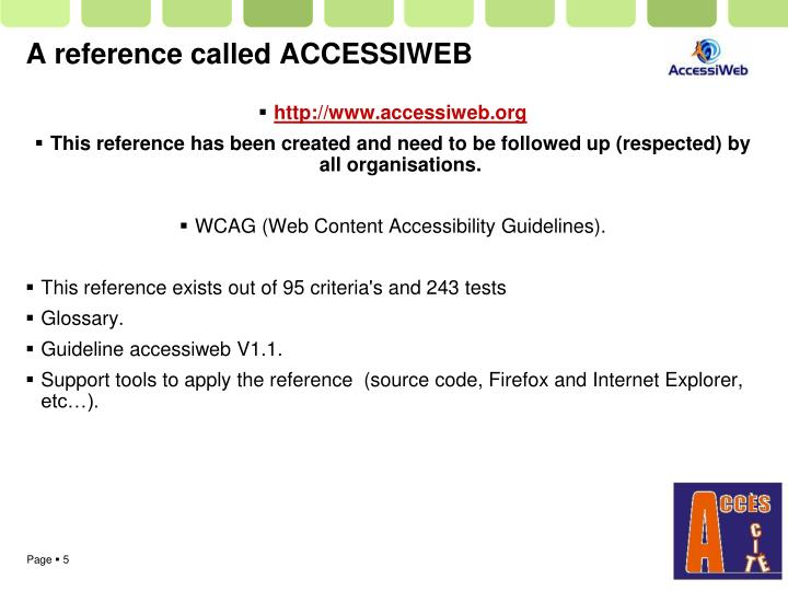A reference called ACCESSIWEB