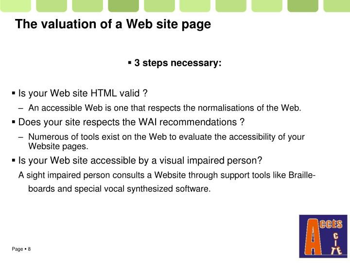 The valuation of a Web site page