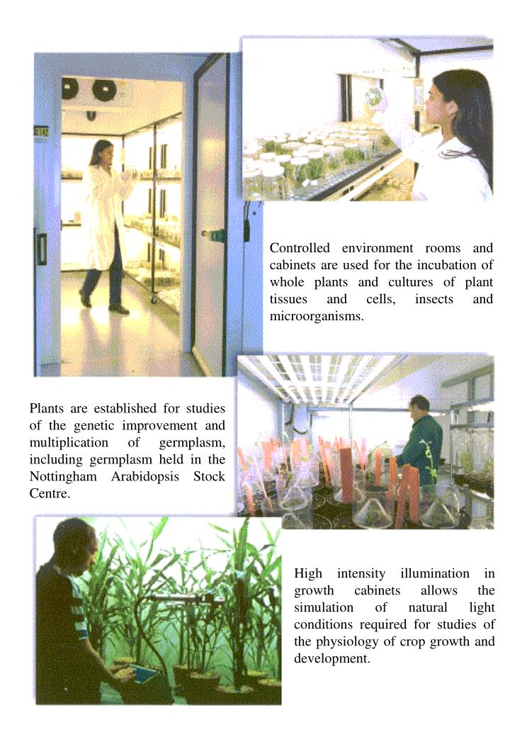 Controlled environment rooms and cabinets are used for the incubation of whole plants and cultures of plant tissues and cells, insects and microorganisms.