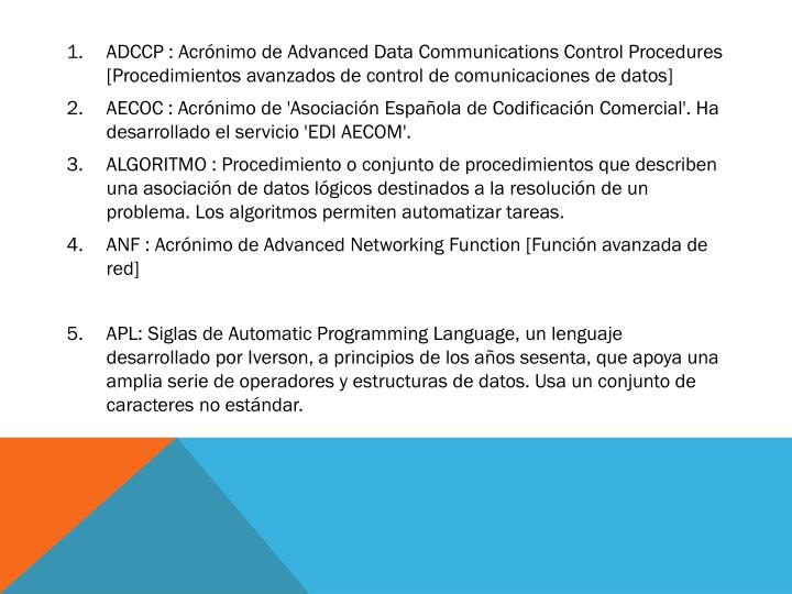 ADCCP : Acrónimo de