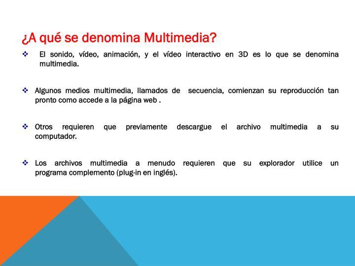 ¿A qué se denomina Multimedia?