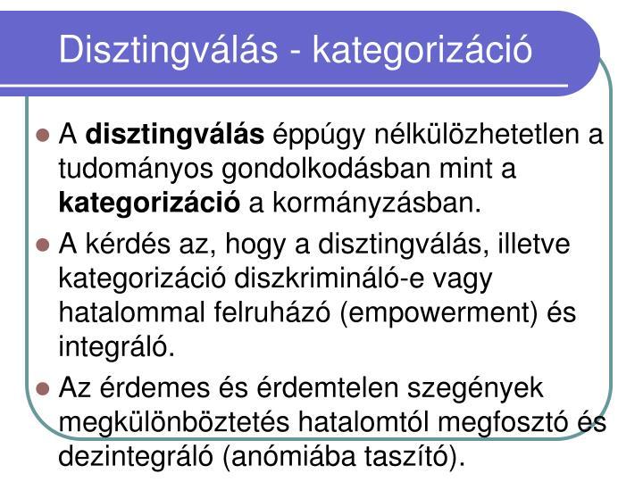 Disztingválás - kategorizáció