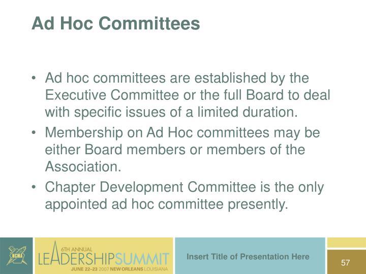 Ad Hoc Committees