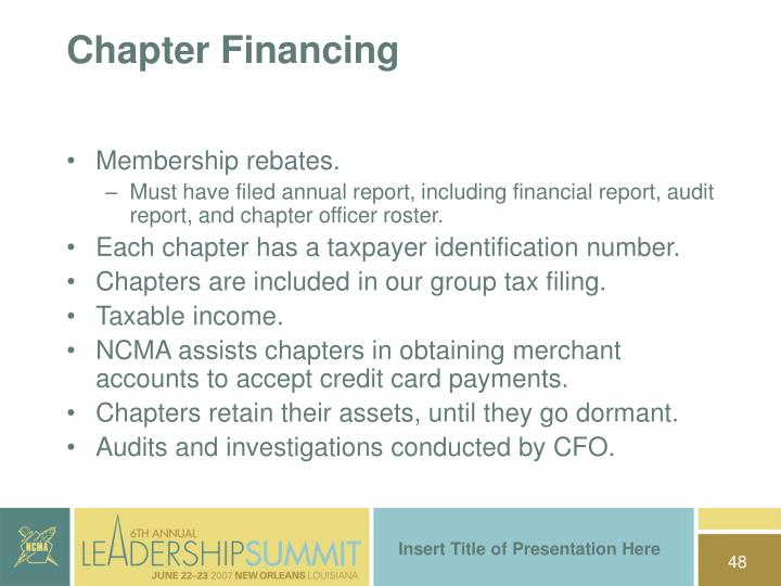 Chapter Financing
