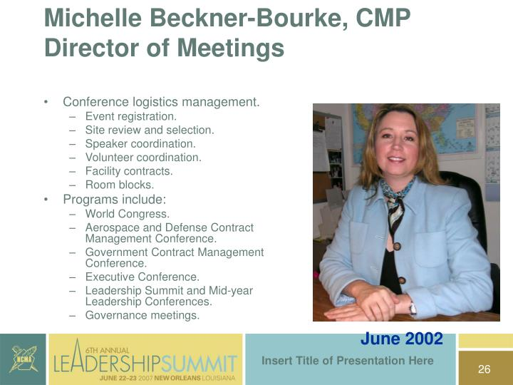 Michelle Beckner-Bourke, CMP