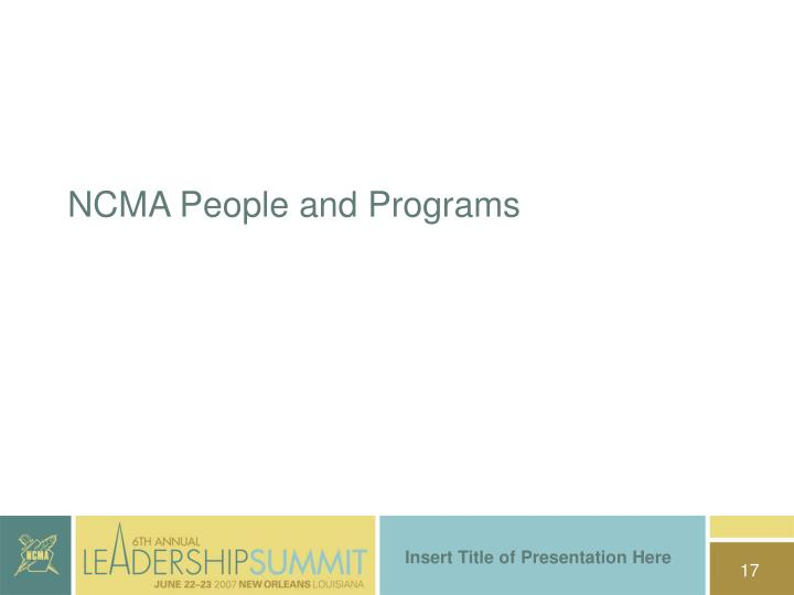 NCMA People and Programs
