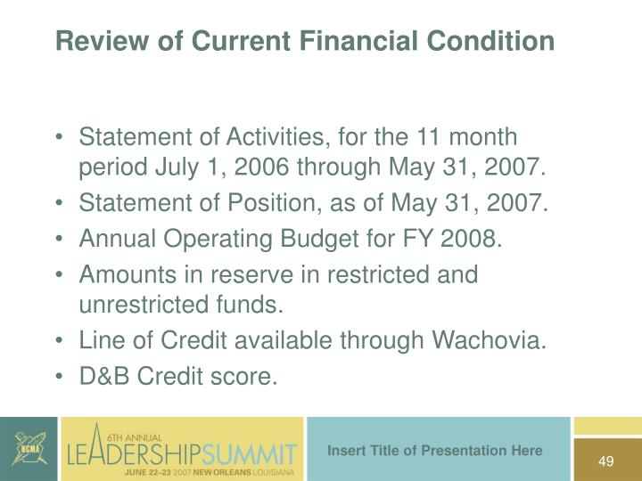 Review of Current Financial Condition