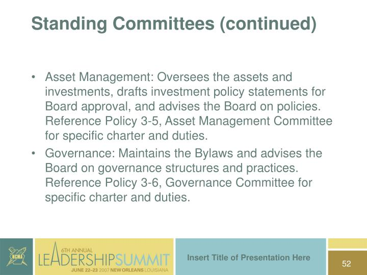 Standing Committees (continued)