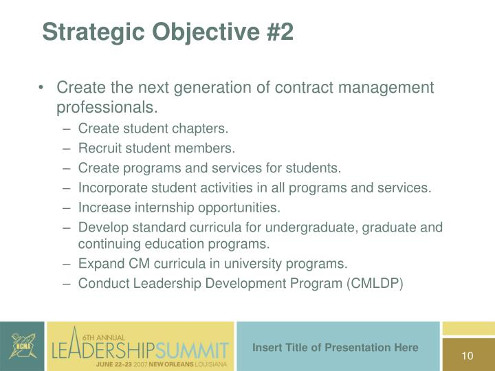Strategic Objective #2