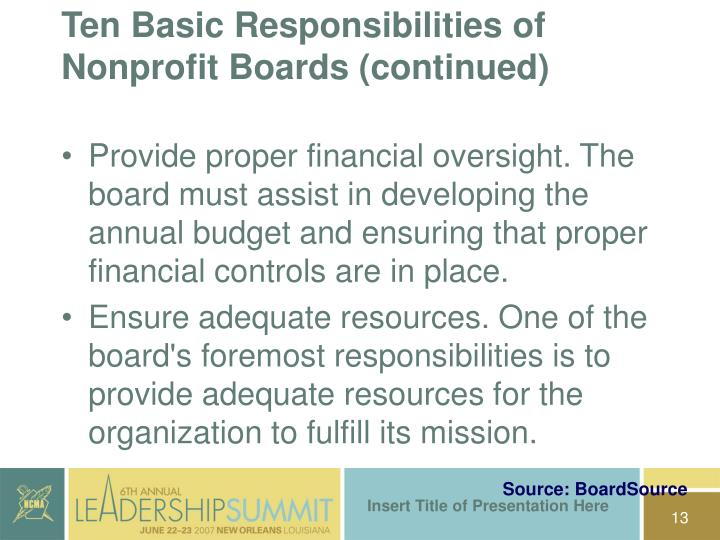 Ten Basic Responsibilities of Nonprofit Boards (continued)
