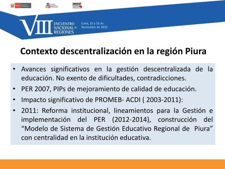 Contexto descentralización en la región Piura