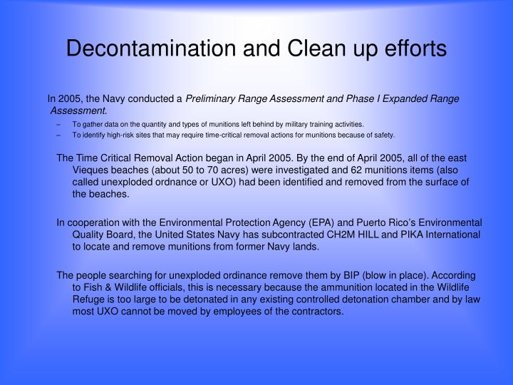 Decontamination and Clean up efforts