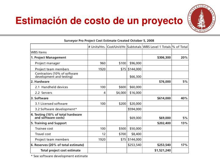 Estimación de costo de un proyecto