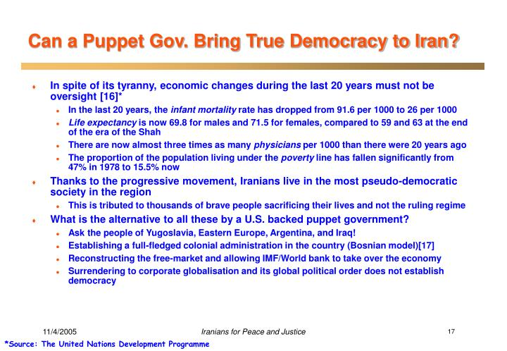 Can a Puppet Gov. Bring True Democracy to Iran?