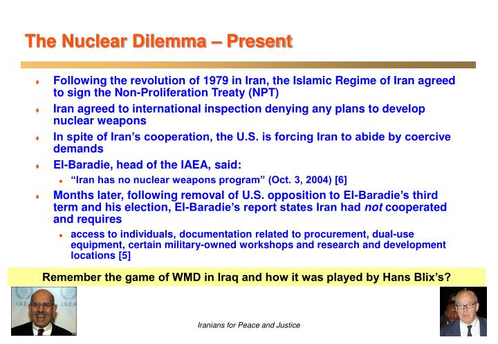 Remember the game of WMD in Iraq and how it was played by Hans Blix's?