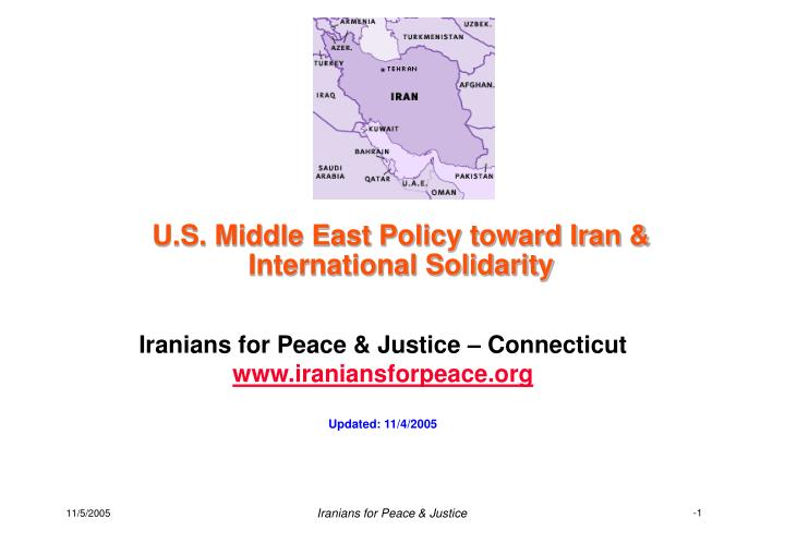 U.S. Middle East Policy toward Iran &