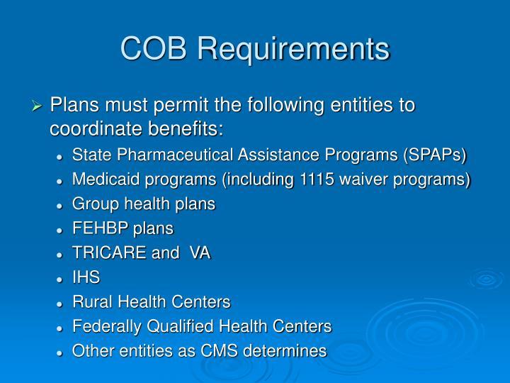 COB Requirements
