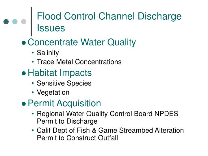Flood Control Channel Discharge Issues
