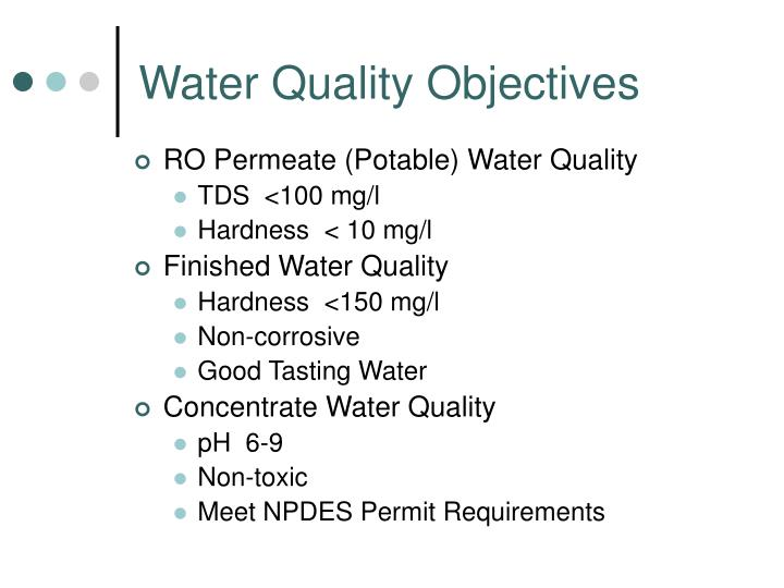 Water Quality Objectives