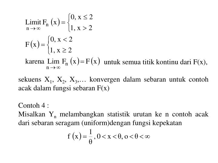 untuk semua titik kontinu dari F(x),