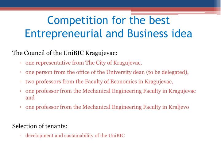 Competition for the best Entrepreneurial and Business idea