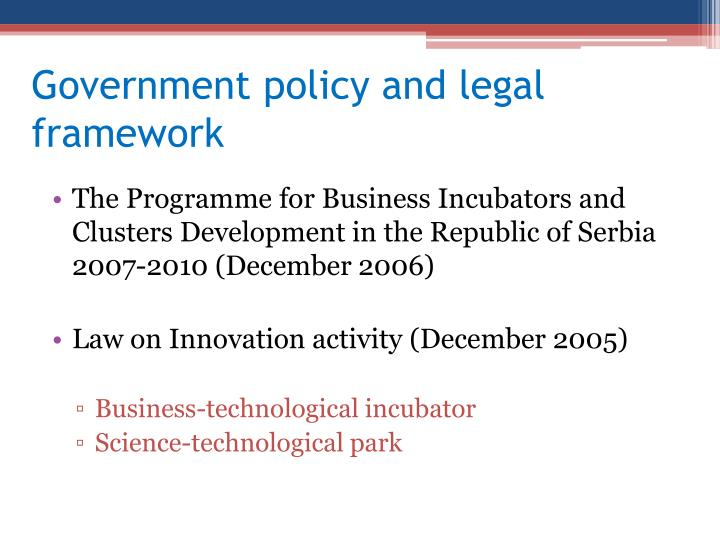 Government policy and legal framework