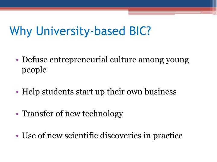 Why University-based BIC?