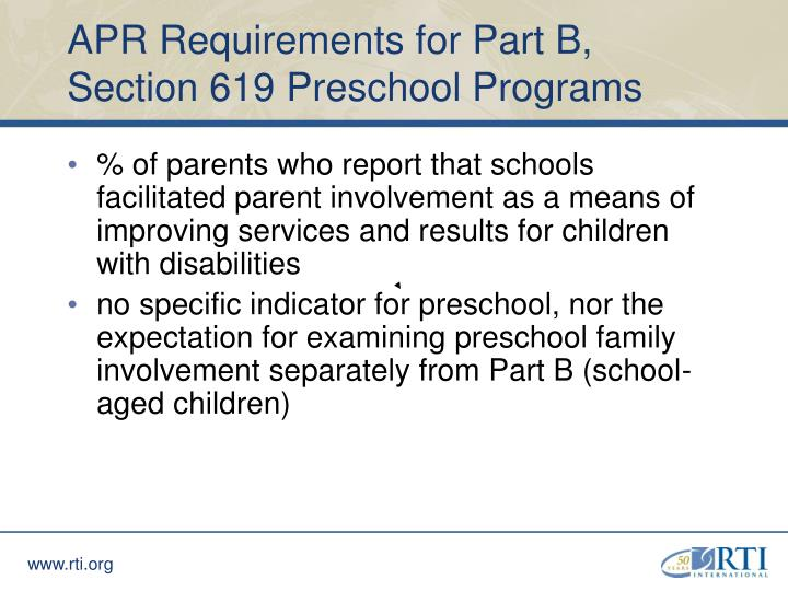 APR Requirements for Part B, Section 619 Preschool Programs