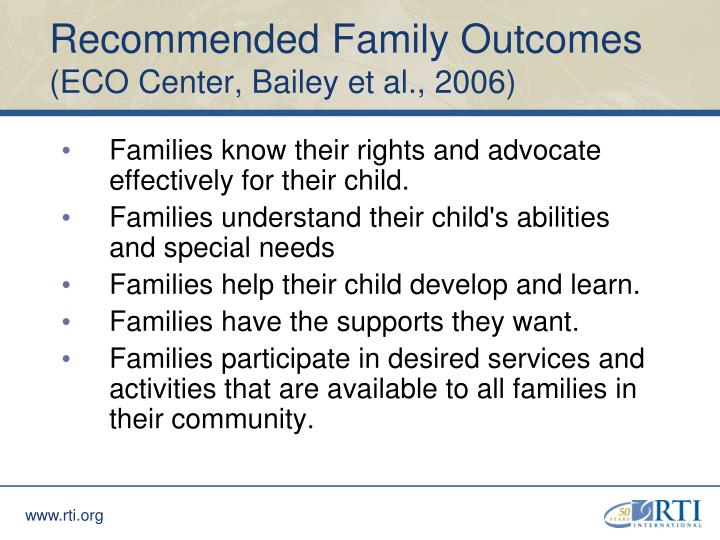 Recommended Family Outcomes