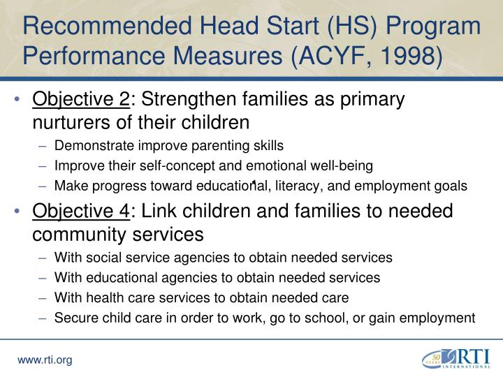 Recommended Head Start (HS) Program Performance Measures (ACYF, 1998)