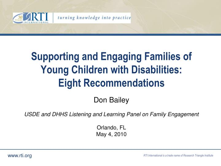 Supporting and engaging families of young children with disabilities eight recommendations