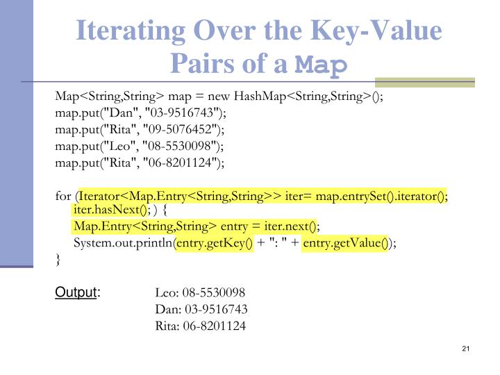 Iterating Over the Key-Value Pairs of a