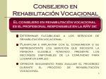 consejero en rehabilitaci n vocacional