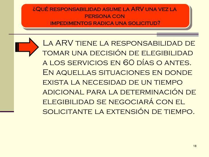 ¿Qué responsabilidad asume la ARV una vez la