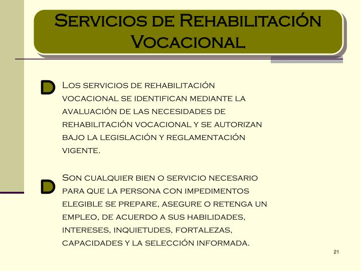 Servicios de Rehabilitación Vocacional