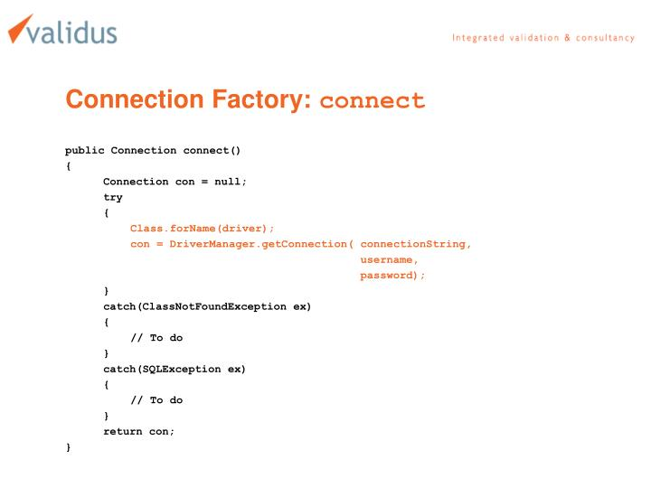 Connection Factory: