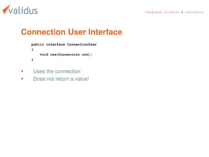 Connection User Interface