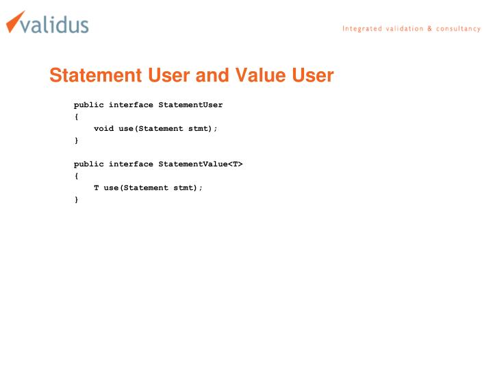 Statement User and Value User