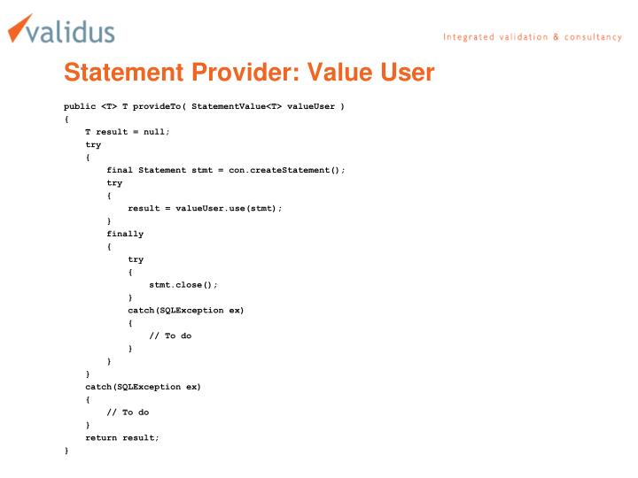 Statement Provider: Value User