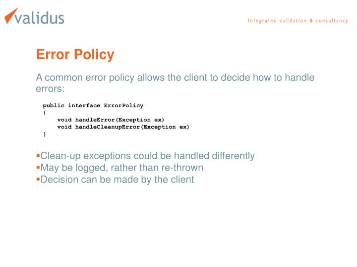 Error Policy
