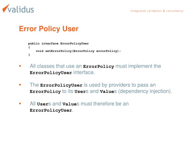 Error Policy User